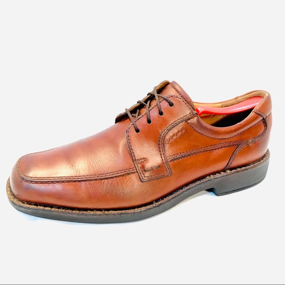 Mens Ecco Derby, Brown Leather, Lace Up In EUC